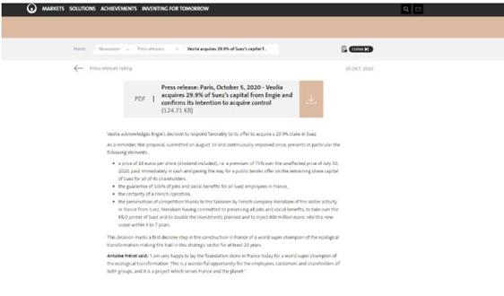 威立雅已收購蘇伊士29.9%股 稱將獲取其控制權