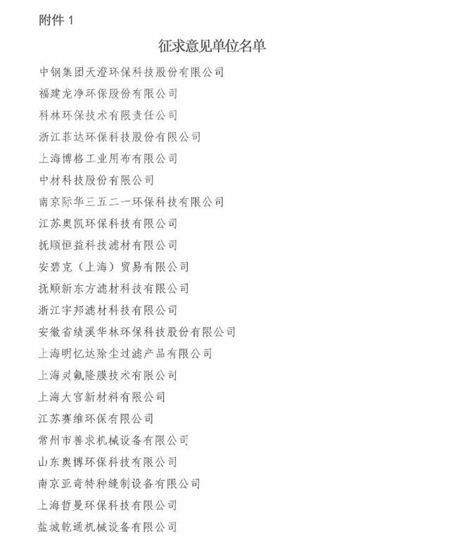 中国环境保护产业协会发布《袋式除尘器 滤袋技术要求(征求意见稿)》