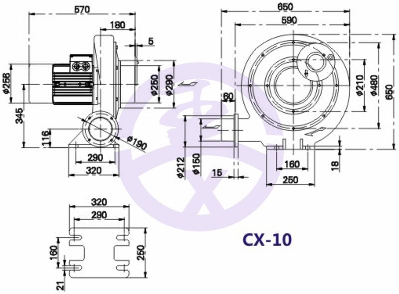 550w750W1.1kw1.5kw2.2kw铝壳中压风机生物质燃烧机炉灶鼓风机示例图12