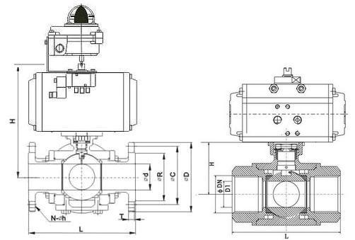 气动三通球阀结构图