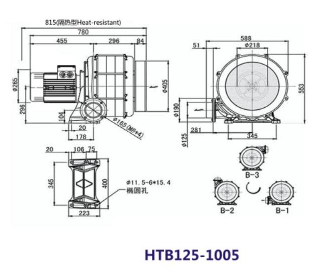 HTB125-1005风机,7.5KW透浦多段式风机,7.5千瓦透浦式风机示例图1