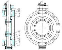 气动法兰蝶阀内部结构