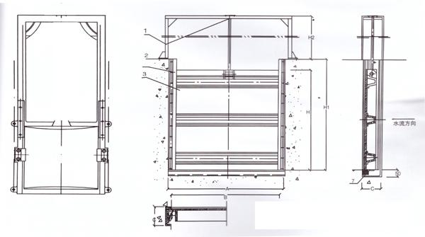 不锈钢插板闸门结构图
