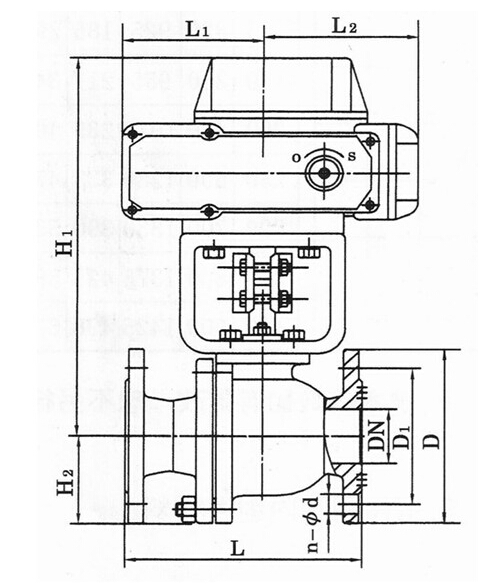 Q941F电动法兰球阀结构图